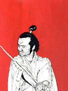 Yelling Mixed Media Prints - The Samurai on red Print by Jason Tricktop Matthews