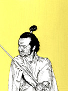 Yelling Mixed Media Prints - The Samurai On Yellow Print by Jason Tricktop Matthews
