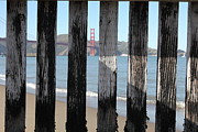 Landmark And Bridges Framed Prints - The San Francisco Golden Gate Bridge Through Wood Planks 5D21729 Framed Print by Wingsdomain Art and Photography