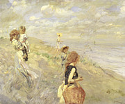 Siblings Paintings - The Sand Dunes by Ettore Tito