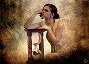 Girl Profile Digital Art - The Sandglass by Gun Legler