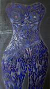 Nudes Glass Art - The Sapphire Woman by Alison Edwards