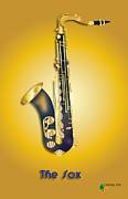 Vector Image Prints - The Sax Print by Herman Cerrato