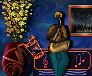 Black Digital Art Framed Prints - The Saxophone Player Framed Print by Bedros Awak