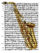 Music Score Digital Art Posters - The Saxophone Poster by Ron Davidson