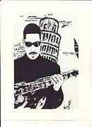 Saxophone Drawings - The Saxophonist by John T Knight Jr
