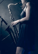 Guitar Player Photos - The Saxophonist Sounds In The Night by Bob Orsillo