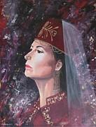 Turkish Paintings - The Scarlet Sultana by Carol Bostan