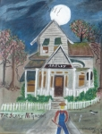 The Haunted House Painting Posters - The Scary Neighbor Poster by Ann Whitfield