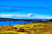 Us Open Framed Prints - The Scenic Chambers Bay Golf Course IV - Location of the 2015 U.S. Open Tournament Framed Print by David Patterson