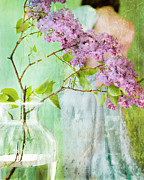 Story Telling Art Prints - The Scent Of Lilacs Print by Theresa Tahara