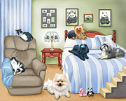Shih Tzu-poodle Prints - The Schofield s Bedroom  Print by Catia Cho