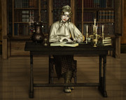 Library Digital Art - The Scholar by Rachel Dudley
