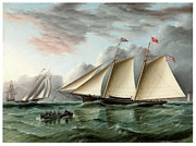 Sailing Ships Posters - The Schooner Mohawk off Sandy Hood Lighthouse Poster by James E Buttersworth