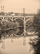 Schuylkill Prints - The Schuylkill River and manayunk Bridge in Sepia Print by Bill Cannon