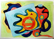 Gouache Abstract Paintings - The Science of Shapes 3 by Esther Newman-Cohen