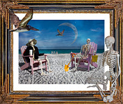 Humans Digital Art Framed Prints - The Scientists Vacation Framed Print by Betsy A Cutler East Coast Barrier Islands