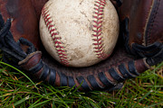 Baseball Seam Photo Metal Prints - The Scoop Metal Print by David Patterson