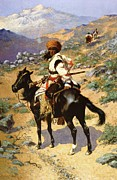 Frederic Remington Prints - The Scout Friends Or Enemies Print by Frederic Remington