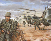 U.s Army Painting Metal Prints - The Screaming Eagles in Vietnam Metal Print by Bob  George