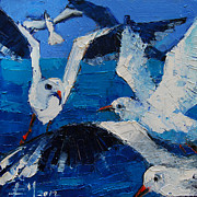 Flying Seagull Painting Framed Prints - The Seagulls Framed Print by EMONA Art