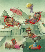 Moon Drawings Prints - The Seal Beach Print by Kestutis Kasparavicius
