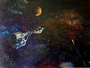 Outer Space Painting Prints - The Search for Earth Print by Murphy Elliott
