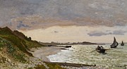 Sailboat Paintings - The Seashore at Sainte Adresse by Claude Monet
