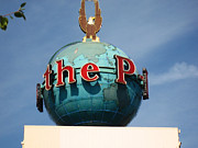 Eagle In Clouds Prints - The Seattle Pi Globe Sign Print by Kym Backland