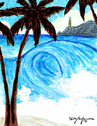 Surfing Art Pastels - The Secret Surf Spot by William Depaula