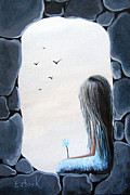 Rock Formation Paintings - The Secret Window by Shawna Erback by Shawna Erback