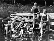 Bathing Photos - The Secretary Pool At Camp by Underwood Archives