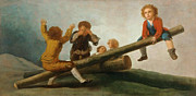 Famous Artists - The Seesaw by Francisco Jose de Goya y Lucientes