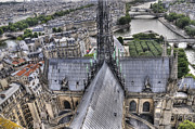 Aeriel View Art - The Seine and Notre Dame de Paris by Colin Woods