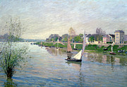 Water Vessels Paintings - The Seine at Argenteuil by Alfred Sisley