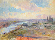 Charles Bridge Painting Posters - The Seine at Rouen Poster by Albert Charles Lebourg