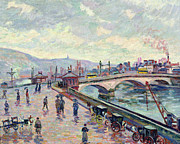 Rain Painting Framed Prints - The Seine at Rouen Framed Print by Jean Baptiste Armand Guillaumin