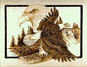 Eagle Pyrography - The Sentinel by Danette Smith