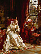 Lute Metal Prints - The Serenade Metal Print by Joseph Frederick Charles Soulacroix