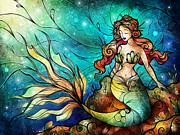 Water Color Digital Art Framed Prints - The Serene Siren Framed Print by Mandie Manzano