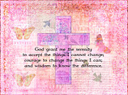 Serenity Prayer Mixed Media Prints - The Serenity Prayer BUTTERFLIES BIRDS NATURE Print by Marigold Winterstamp
