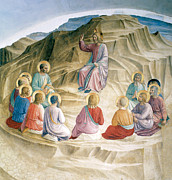 Sermon On The Mount Framed Prints - The Sermon on the MOunt Framed Print by Fra Angelico