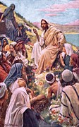 Sermon Painting Prints - The Sermon On The Mount Print by Harold Copping
