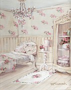 Guest Painting Prints - The Shabby Chic Floral Guest Room Print by Gail McCormack