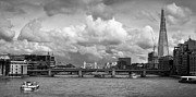 Greyscale Prints - The Shard and Thames view black and white version Print by Gary Eason