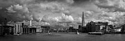 Greyscale Prints - The Shard and the Thames at Southwark black and white version Print by Gary Eason