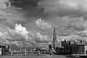 Southwark Framed Prints - The Shard at Southwark black and white Framed Print by Gary Eason