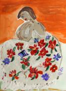 Williams Drawings Prints - The Shawl Print by Mary Carol Williams