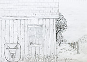 Shed Drawings Framed Prints - The Shed Framed Print by Jack G  Brauer