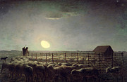 Animal Farms Prints - The Sheepfold   Moonlight Print by Jean Francois Millet